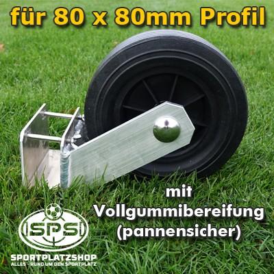 vollgummibereiftes Transportrad 80 x 80 mm