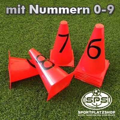 10 rote Kegel 23cm mit Nummern 0-9