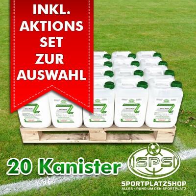 20 Kanister Ultra Weiß im Aktionsset mit Trainingsmitteln, Markierfarbe, Rasenfarbe, Sportplatzmarkierung