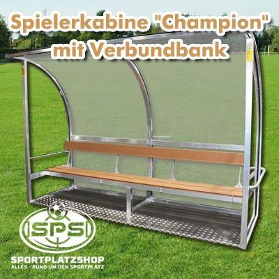 Champion Kabine, Spielerkabine mit Holzbank, Verbundband