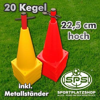 20 Stk Markierkegel Set 22,5 cm mit Metallständer
