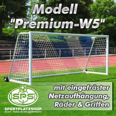 Jugendfußballtor Modell 'Premium-W5' mit eingefräster Netzaufhängung