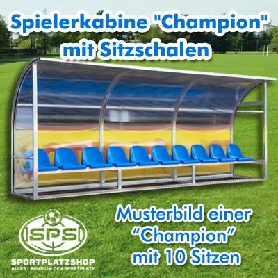 """Spielerkabine """"Champion"""" vollverschweißt mit Sitzschalen"""