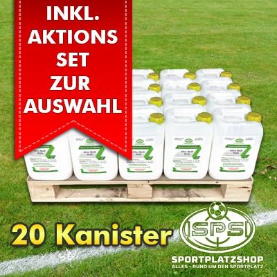 20 Kanister Ultra Weiß PLUS im Aktionsset mit Trainingsmitteln, Markierfarbe, Rasenfarbe, Sportplatzmarkierung