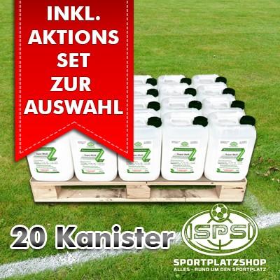 20 Kanister Super Weiß im Aktionsset mit Trainingsmitteln, Markierfarbe, Rasenfarbe, Sportplatzmarkierung