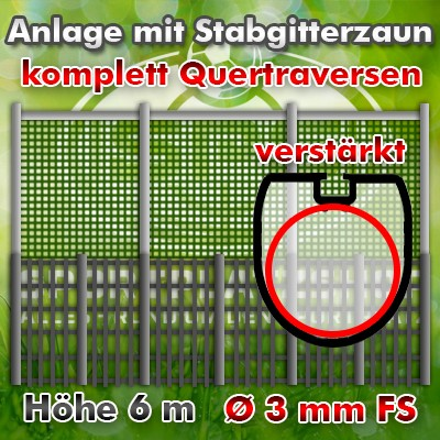 Ballfanganlage mit Stabgitterzaun, Fangzaun, Schutzzaun, Schutzanlage, Ballfang