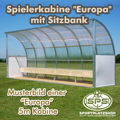 """Spielerkabine """"Europa"""" mit Bänken"""