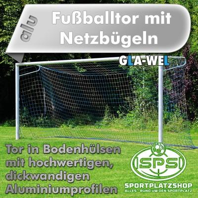 Fußballtor in Bodenhülsen mit Netzbügel